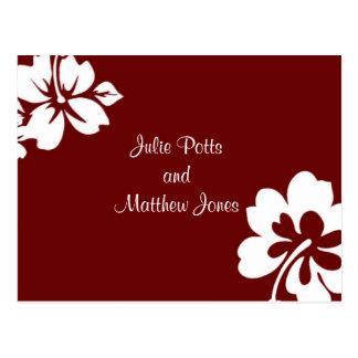 Dunkelrote Hibiskus-Hochzeits-Einladung Postkarten
