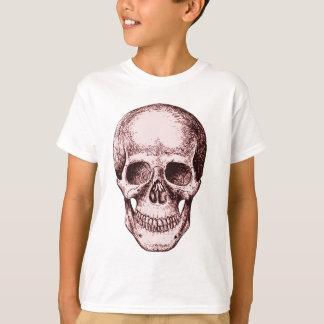 Dunkelroter menschlicher Schädel T-Shirt