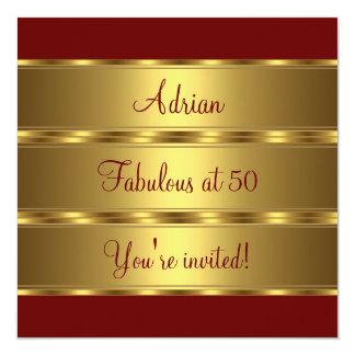 Dunkelrotes u. Goldfabelhaftes 50. Quadratische 13,3 Cm Einladungskarte