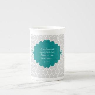 Dunkle aquamarine elegante Knochen-China-Tasse Porzellantasse