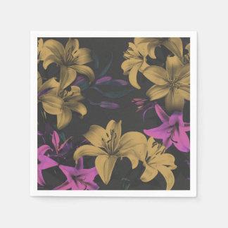 Dunkle Blumenpapierservietten Servietten