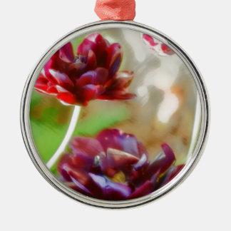 Dunkle Bordeaux-Pfingstrosen-blühendes Tulpe-Trio Silbernes Ornament