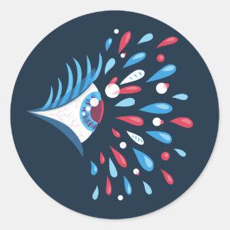 Dunkle bunte Riss-psychedelisches Auge Runder Aufkleber