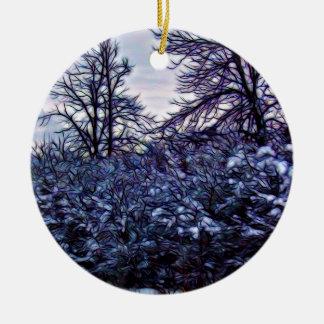 Dunkle Büsche im Winter Rundes Keramik Ornament