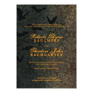 Dunkle Damast-Halloween-Hochzeits-Einladung Karte