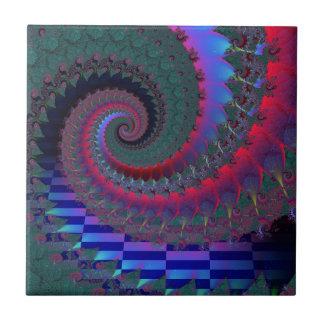 Dunkle Fraktal-Spirale Fliese
