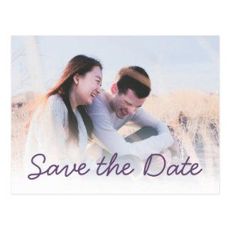 Dunkle lila Hochzeits-Foto-Einladung Save the Date Postkarte
