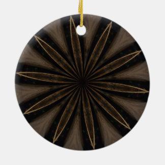 Dunkle rustikale kaleidoskopische Blumen-Kunst Keramik Ornament