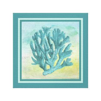 Dunkle Türkis-Korallen-Niederlassung Leinwanddruck