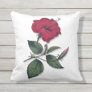 Dunkle Wein-Rot-Hibiskus-Blume Kissen Für Draußen