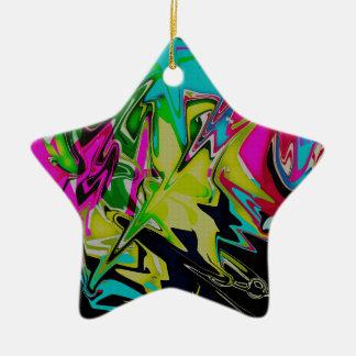 Dunkler abstrakter flüssiger FarbTropfen Keramik Stern-Ornament