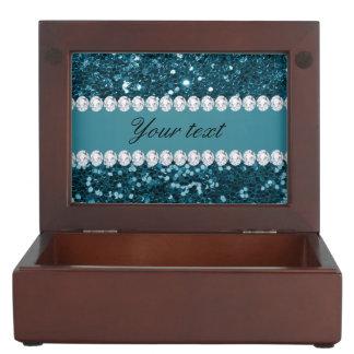 Dunkler aquamariner blauer Imitat-Glitter und Erinnerungsdose