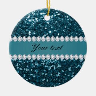 Dunkler aquamariner blauer Imitat-Glitter und Rundes Keramik Ornament
