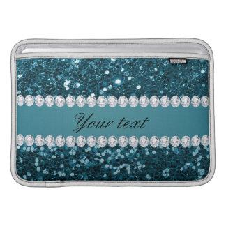 Dunkler aquamariner blauer Imitat-Glitter und Sleeve Fürs MacBook Air