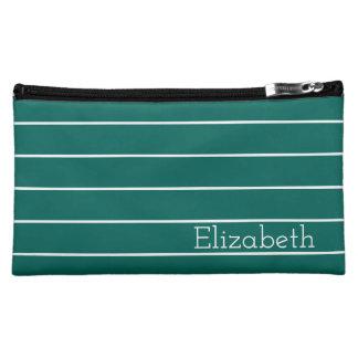 Dunkler aquamariner und weißer Streifen Cosmetic Bag