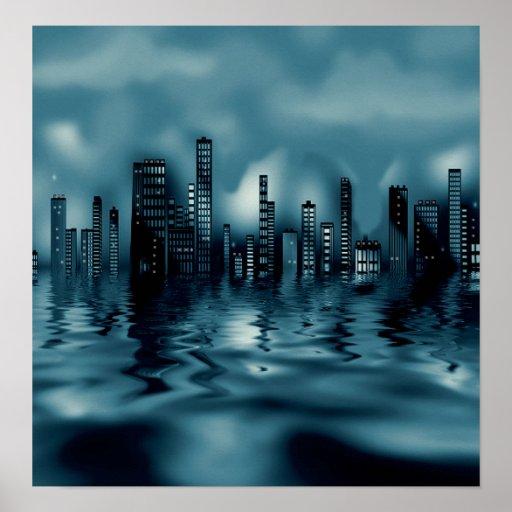 Dunkler BluesCityscape mit Reflexionen im Wasser Poster
