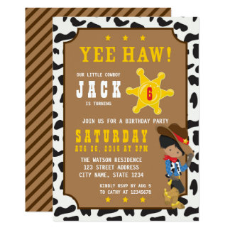 Dunkler Cowboy-wilde Westgeburtstags-Einladung Karte