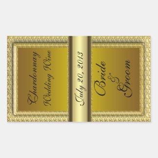 Dunkler Goldhochzeits-Wein-Aufkleber Rechteckiger Aufkleber