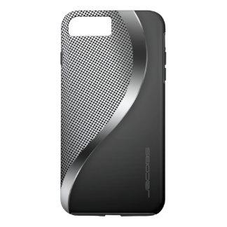 dunkler Kasten mit perforierter Platte und iPhone 8 Plus/7 Plus Hülle