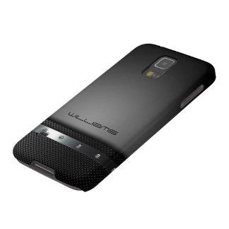 dunkler Kasten mit perforierter Platte und Samsung Galaxy S5 Cover