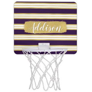 Dunkler lila Goldstreifen-Muster-individueller Mini Basketball Ring