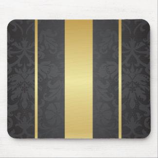 Dunkler Luxusblumendamast mit goldenen Streifen Mousepads