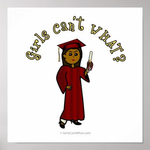 Dunkler Mädchen-Absolvent in der roten Kappe und i Poster