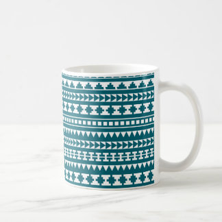 Dunkler Türkis-Stammes- aztekisches Muster Kaffeetasse