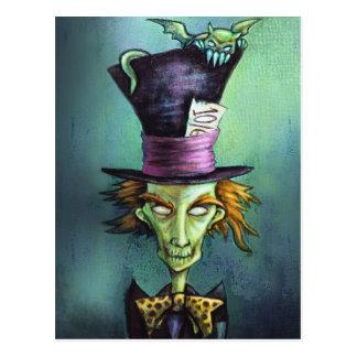 Dunkler wütender Hutmacher von der Alicen im Postkarte
