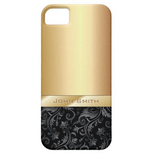Dunkles Blumenluxusgoldmetallischer iPhone 5 Fall iPhone 5 Schutzhülle