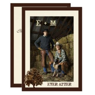 Dunkles Brown-Eichen-Baum-Foto-Hochzeits-Einladung 12,7 X 17,8 Cm Einladungskarte