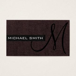 Dunkles Brown-Leinwand-elegantes Monogramm Visitenkarte