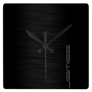 dunkles elegantes perforiertes Metall Quadratische Wanduhr