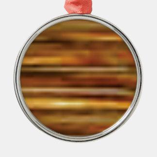 dunkles goldenes Holz Rundes Silberfarbenes Ornament