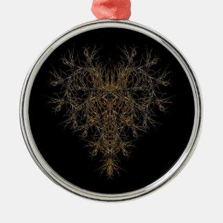 dunkles herz silbernes ornament