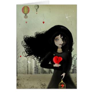 Dunkles Herz U des Steampunk Kunst-Valentinsgruß-I Karte
