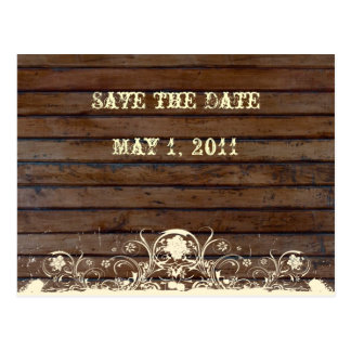 Dunkles Holz Save the Date Postkarte