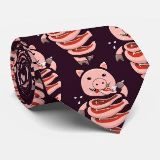 Dunkles hungriges Selbstessen geschnitten in Krawatte