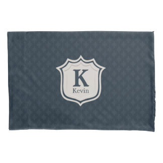 Dunkles Marine-Blau-Muster-Schild-Monogramm Kissenbezug