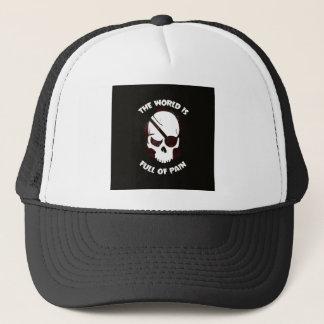 Dunkles Schwarzes Schädel-Halloweens beängstigend Truckerkappe
