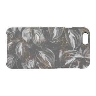 Dunkles Schwarzes und GoldBlätter-botanische Natur Durchsichtige iPhone 6/6S Hülle