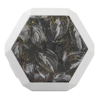 Dunkles Schwarzes und GoldBlätter-botanische Natur Weiße Bluetooth Lautsprecher