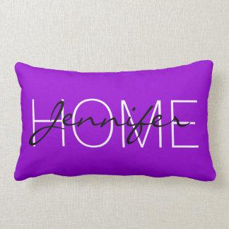 Dunkles violettes FarbZuhausemonogramm Lendenkissen