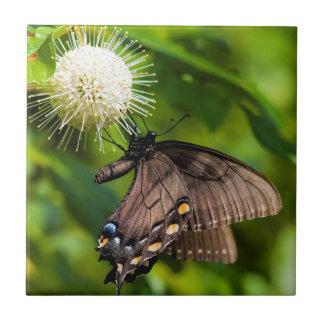 Dunkles weibliches Tiger-Frack auf Wildblume Keramikfliese