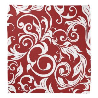Dunkles Wein-Rot-Blumentapeten-Strudel-Muster Kopftuch