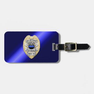 Dünne blaue Linie Abzeichen mit Knopf auf Kofferanhänger
