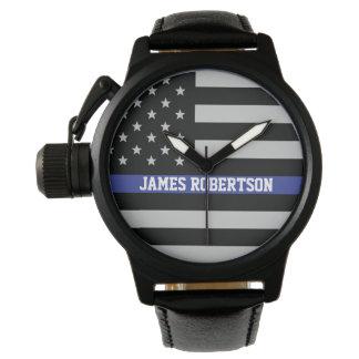 Dünne blaue Linie - amerikanische Flagge Uhr