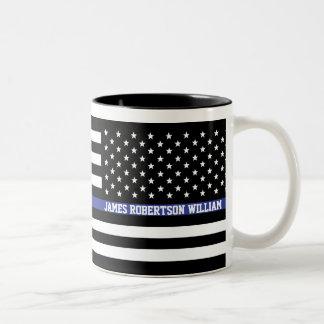 Dünne blaue Linie - amerikanische Zweifarbige Tasse