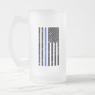 Dünne blaue Linie - Polizei-Offizier - Bier-Tasse Mattglas Bierglas