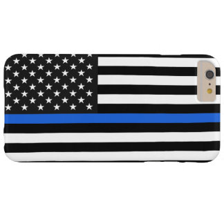 Dünne Blue Line-amerikanische Flagge Barely There iPhone 6 Plus Hülle